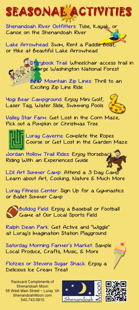 24 Things for Kids to do in Luray VA BACK